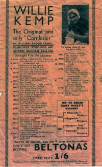 Flyer advertising Willie Kemp's (and Curly McKay's) records.