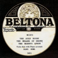 Beltona 1411.  Recorded October 1928.  This style continued for some years, pressed by Edison Bell Winner.