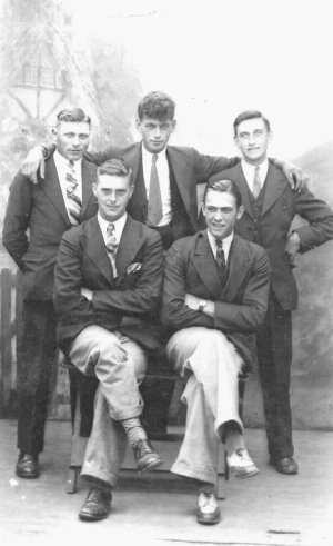 Bill, centre, with brother and friends, Blackpool, c.1930.
