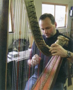 Carwyn playing the Welsh Triple Harp