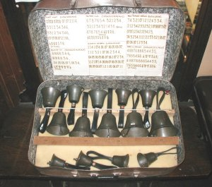 The restored handbells, with playing number sequences written out by Bob