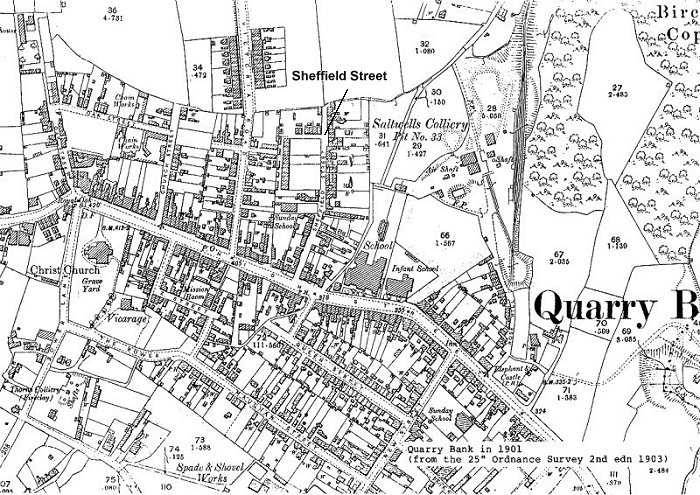 Large scale map of Quarry Bank in 1901