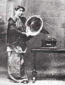 Gauhar Jan with gramophone, c.1905