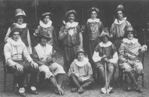 A group dressed for a pageant, occasion unknown, c.1920.  Herbert Smith is at top left.