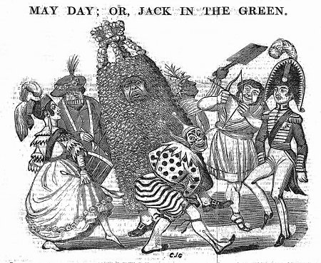 'Jack-in-the-Green' as political satire. Note the player on Pandean pipes and drum. From The Penny Satirist, 2 May 1840, page 1.