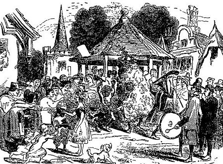 Perhaps a 'typical' scene of enactment. Note the Pandean pipes and drum player with another musician, apparently on flageolet. 'My Lady' collects money in a ladle at left. From The Penny Illustrated Paper, 3 May 1862, page 285.
