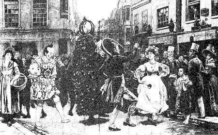 Captioned 'Jack-in-the-Green - May-day scene sixty years ago', by Charles Green. Probably a 'typical' performance. From The Graphic, 3 May 1890, page 506.