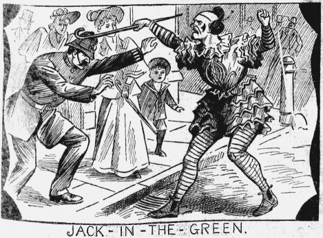 The clown attendant upon the 'Jack' strikes a police officer : a not-unheard-of occurrence. From The Illustrated Police News, 11 May 1895, page 5.