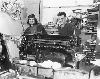 Ken and his brother Lionel in their print shop in Cheltenham's Tivoli district,  Mid-sixties.