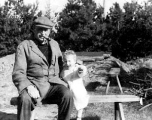 Philip Hamond with son Ned, mid 1940s.