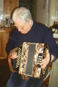 Ned Hamond with his father's melodeon