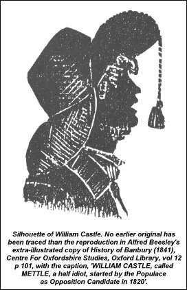 Silhouette of William Castle in straw bonnet