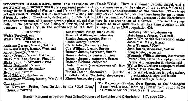 Stanton Harcourt entry from Post Office Directory of Berkshire and Oxfordshire, 1847, page 2224.