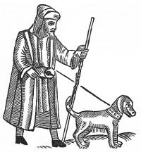 Blind Beggar woodcut from a broadside ballad sheet