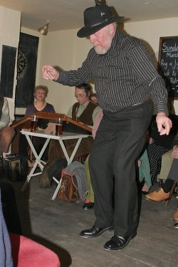 Richard Davies stepping in the Vernon Arms, Southrepps, in March 2008 (at a Rig-a-Jig-Jig event in the pub).
