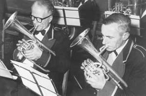 November 1961. Henry William 'Fiddler' Sturch (at left) with Stan Todd, playing in Shipston Town Band