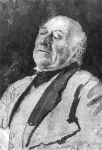 A portrait sketch of Turner as an old man.