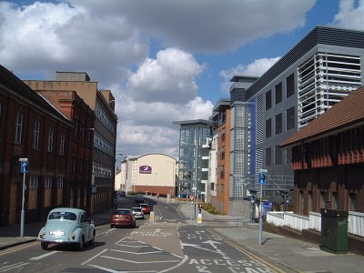 Photo 2. Duke Street, looking north. The multi-storey car-park on the right, the eastern side of the street, stands on the site of the old Duke's Palace pub (Howard Marshall, March 2008)