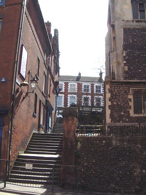 Photo 3. Lawrence's Steps looking south from Westwick Street. Walker's premises would have been on the left-hand side of the steps. (Howard Marshall, March 2008)