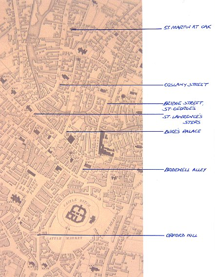 Muskett's 1849 map of Norwich city centre, showing all Walker locations (map by kind permission of the Millenium library)