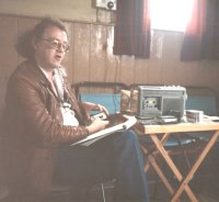 Keith giving one of his many memorable talks, probably in Suffolk, early 1984. Photo courtesy Peta Webb